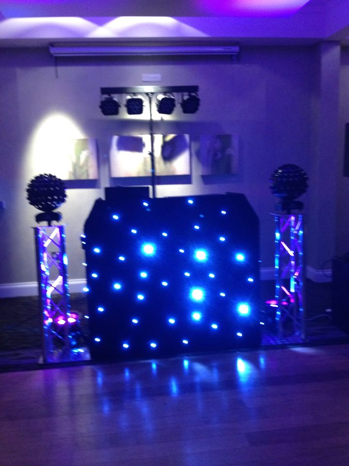 Black DJ Booth with Glitter Balls