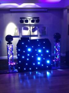 Black DJ Booth with Glitter Balls