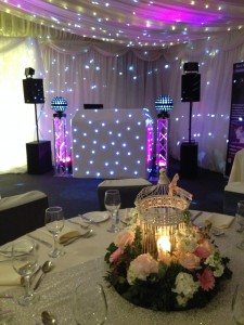 White Dj Booth with Glitter Balls